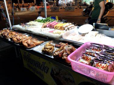 夜のロンポー市場、屋台が安うま!デカ丸鶏&ガパオ、パスタやケバブまで!